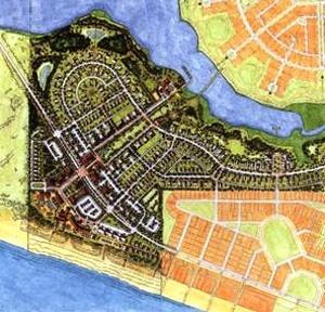 Figura 06 – Empreendimento concebido como extensão da cidade de Seaside. Projeto do escritório Cooper Robertson & Partners,1996 [J. Dutton. Livro, New american urbanism, 2000.]
