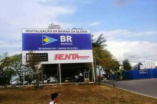 Placa da empresa responsável pela revitalização da marina do Parque do Flamengo<br />Foto divulgação  [Acervo Sonia Rabello]