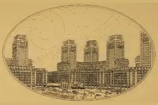 Donat Alfred Agache, perspectiva da praça do Castelo, 1930<br />Imagem divulgação  [<i>Cidade do Rio de Janeiro: Extensão-Remodelação-Embellezamento</i> (Foyer Brésilien/Pref]