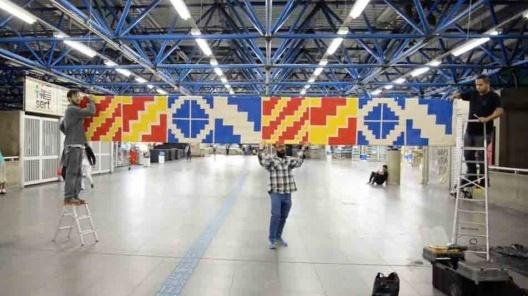 Concepção, construção e instalação da bandeira/fronteira no Terminal Intermodal Barra Funda de São Paulo<br />Foto divulgação