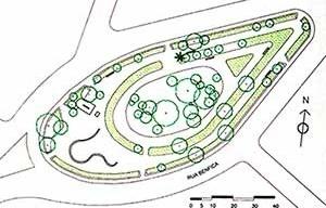 Planta Baixa esquemática da Praça Euclides da Cunha [SÁ CARNEIRO, Ana Rita; MESQUITA, Liana. Espaços livres do Recife]