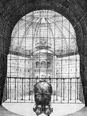 Projeto de Penitenciária de N. Harou-Romain, 1840. Sistema panóptico: detento reza em sua cela, diante da torre de vigilância central [FOUCALT, Michel. Vigiar e Punir. Petrópolis, Vozes, 1987]