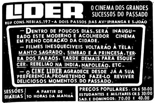 Anúncio no jornal Folha de S. Paulo, 10 de agosto de 1961<br />Imagem divulgação