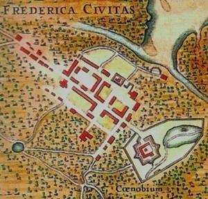 1. Planta da cidade da Parahyba por volta de 1640 [Barlaeus, Rerum per Octennium in Brasilia..., Amsterdã, 1647]