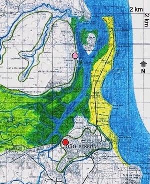 2. Mapa mostrando o estuário do rio Paraíba. (O círculo vermelho indica o local onde foi implantada a cidade da Parahyba) [Criação nossa sobre carta produzida pela SUDENE em 1974]