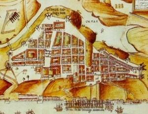 5. Planta da Restituição da Bahia (1631), de João Teixeira Albernaz. O núcleo inicial de Salvador aparece à direita na planta, estando separado parcialmente do outro bairro, mais amplo, por um talvegue