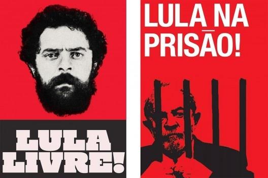 Cartazes defendendo liberdade e prisão de Lula<br />Imagens divulgação