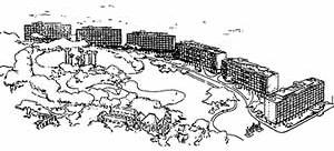 Conjunto residencial Parque Guinle, perspectiva geral do conjunto, Rio de Janeiro RJ. Lúcio Costa, 1948-54