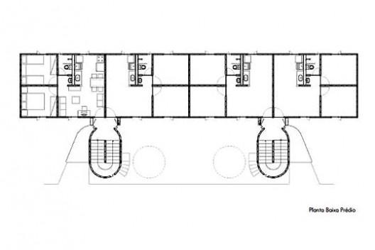 """Projeto alternativo para o programa """"Minha Casa, Minha Vida"""", planta do edifício. Arquiteto João Filgueiras Lima, Lelé<br />Imagem divulgação"""