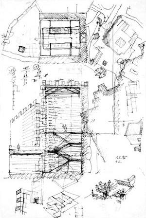 Fig. 23 - Casa dos 24, croqui de Fernando Távora