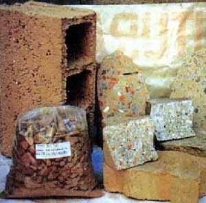 Produtos derivados do entulho reciclado