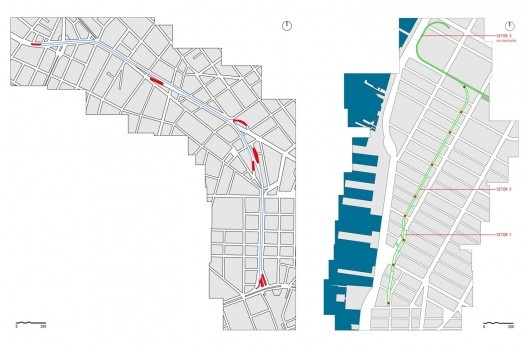 Diagrama. Acessos à cota elevada, em vermelho. Elevado (à esquerda) e High Line (à direita)<br />Desenho Ana Carolina Ferreira Mendes
