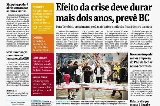Chamada na capa da Folha de S.Paulo para matéria sobre o pixador Djan Ivson em Berlim, 13 jun. 2012<br />Foto reprodução