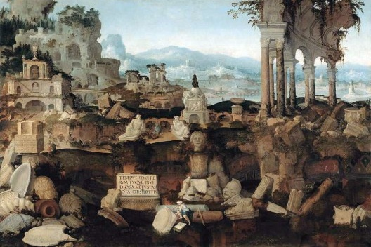 Paesaggio fantastico con rovine, Hermannus Posthumus, 1538