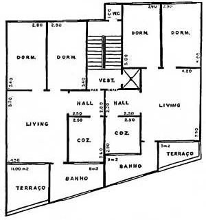 Fig. 03 – Edifício Angel, avenida Angélica n. 172, Júlio Abreu Júnior, 1927. Planta tipo [Arquivo FAU-USP]