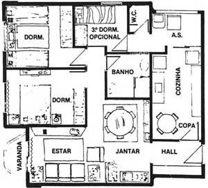 Fig. 06 – Planta de apartamentos com dormitório reversível. Edifício Vila Romana, rua Croata, s/ identificação do autor, 1984 [Jornal Folha de S. Paulo, 17/07/1984 e 16/03/1983]