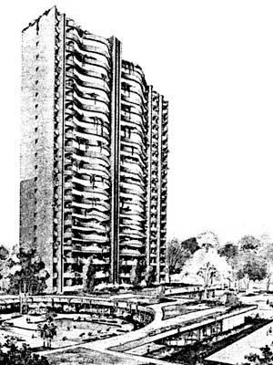 Fig. 07 – Conjunto Portal da Cidade, Ruy Ohtake, 1986, foto da área de lazer do conjunto [FARIAS, A. A. C. La arquitectura de Ruy Ohtake. Madrid, Celeste, 1994]