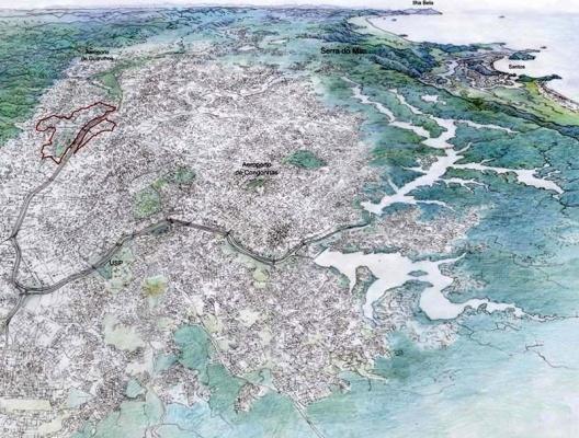 Operação Urbana Carandiru – Vila Maria. Plano-Referência de Intervenção e Ordenação Urbanística. Posição e inserção metropolitana<br />Desenho Valandro Keating