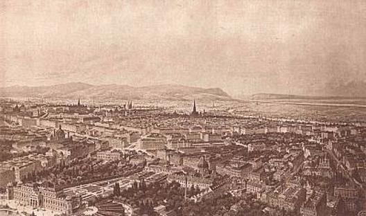 Panorama de Viena, antes da Primeira Guerra Mundial [www.planet-vienna.com/Alt-Wien/Alt-Wien.htm]