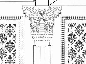 Pormenor da representação das carrancas dos capitéis com decoração cromática ao fundo, desenho do projeto de execução