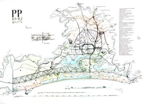 Plano Piloto para a urbanização da baixada compreendida ente a Barra da Tijuca, o Pontal de Sernambetiba e Jacarepaguá. Lucio Costa, 1969 [COSTA, Lúcio. Lucio Costa, registro de uma vivência. São Paulo, Empresa das Artes, 1995]