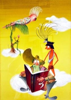 Ilustração desenvolvida pelo designer Fred Jordan para o Calendário 1954 – IV Centenário de São Paulo. <br />Foto de Alberto Salvatore Ghiurghi  [Acervo particular Sonja Jordan]