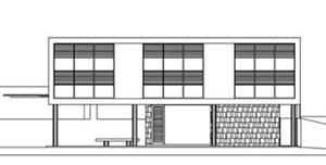 Residência na rua Diogo Velho, nº 306 (atual farmácia de manipulação), Arquiteto Gil Acácio Borsoi. Fachada anterior às modificações