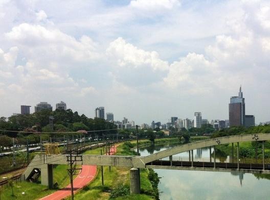 egetação e área permeável nas margens do Rio Pinheiros, São Paulo<br />Foto Abilio Guerra