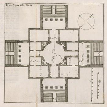 Plan of Villa Rotonda, Andrea Palladio, 1778<br />Drawing by Ottavio Bertotti Scamozzi  [Wikimedia Commons]
