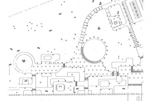 Instituto Central de Ciências da Universidade de Brasília, planta de paisagismo (detalhe), Brasília DF Brasil, 1971. Arquiteto Oscar Niemeyer [Acervo Ceplan UnB]