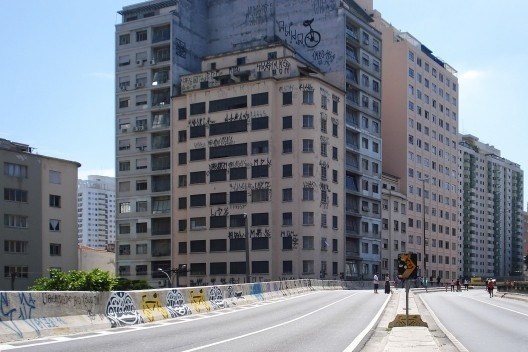 Pichação no centro São Paulo, próxima ao elevado Costa e Silva<br />Foto Pedro Filardo
