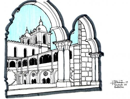 Batalha: vista da igreja no Mosteiro de Batalha a partir de uma arcada<br />Elaboração Haroldo Gallo