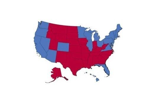 """A América dividida: """"Retrô"""" (estados vermelhos) x """"Metrô"""" (estados azuis) [SPERLING, 2004]"""
