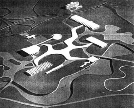 Foto da Maquete do projeto definitivo para o Parque, aprovado em 1953. Autor: Oscar Niemeyer e grupo [Acervo Divisão de Iconografia e Museus – DPH/SMC/PMSP].