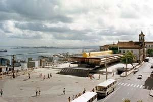 Palácio Tomé de Souza (Prefeitura de Salvador), vista panorâmica. Arquiteto Escritório João Filgueiras Lima, Lelé, 1986 [Escritório do arquiteto]