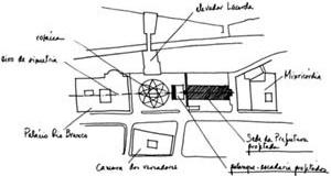 Palácio Tomé de Souza (Prefeitura de Salvador), implantação [João Filgueras Lima, Lelé. Editorial Blau / Instituto Lina Bo e P. M. Bardi]