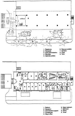 Palácio Tomé de Souza (Prefeitura de Salvador), plantas área pública e piso elevado [João Filgueras Lima, Lelé. Editorial Blau / Instituto Lina Bo e P. M. Bardi]