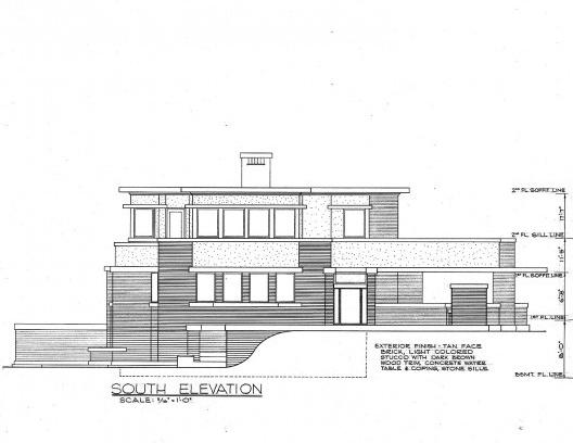 Emil Bach House, elevação sul, North Sheridan Road, Chicago, Estados Unidos, 1915. Arquiteto Frank Lloyd Wright<br />Redesenho J. William Rudd, 1965  [Library of Congress / U.S. Government]