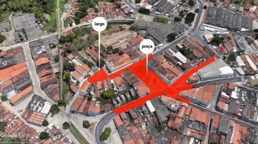 Mapa do largo São Frei Pedro Gonçalves e praça Antenor Navarro<br />Elaboração dos autores a partir do Google Earth, 2020