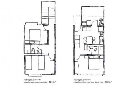 """Projeto alternativo para o programa """"Minha Casa, Minha Vida"""", plantas da unidade. Arquiteto João Filgueiras Lima, Lelé<br />Imagem divulgação"""
