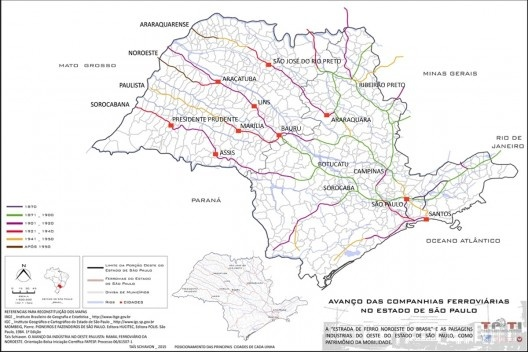 6d19f8f0b2791 Avanço das companhias ferroviárias do Estado de São Paulo, periodização dos  eixos abertos no Estado de São Paulo  Execução da autora conforme os dados  ...