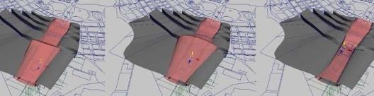 """Diagramas/""""quadros"""" de uma animação, mostrando a deformação sofrida pela superfície que representa a cidade latente (sobreposta à cidade """"real""""), em virtude do """"aparecimento e desaparecimento"""" de eventos efêmeros"""