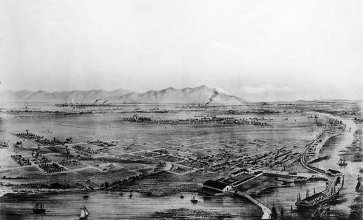 Desenho do rio Los Angeles em meados de 1900<br />Desenho de Wilmington  [Wikimedia Commons]