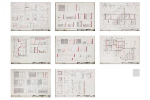 Exposição Território de Contato, Marcos Acayaba, painel com desenho executivo de residências (parte 4)<br />Painel de Estudio Campo
