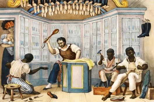 """Jean-Baptiste Debret, """"Loja de <br />Sapateiro Aquarela"""" Imagem divulgação  [Voyage Pittoresque et historique au Bresil]"""