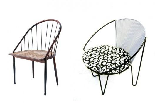 À esquerda, cadeira curva, com varetas de jacarandá, design de Joaquim Tenreiro, 1960; à direita, cadeira Zanine, design de José Zanine Caldas, 1950<br />Fotos divulgação  [Acervo MCB]