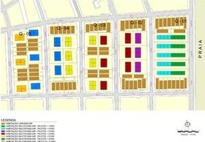 Planta. Hipótese de uso e ocupação na faixa de 500 metros em cinco quadras do bairro de Tambaú