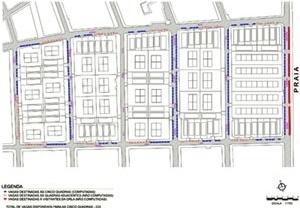 Planta. Distribuição das vagas para estacionamento no sistema viário – Trecho do bairro Tambaú