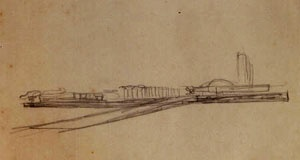 Desenho feito por Lúcio Costa, mostrando a visão do Congresso Nacional da Esplanada dos Ministérios [www.arkhebrasil.com.br]