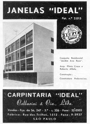 """Propaganda dos Caixilhos """"ideal"""".  [Acrópole, n. 236, janeiro 1958]"""